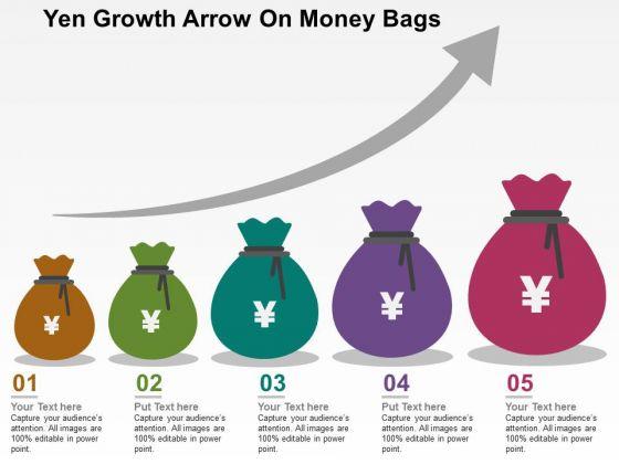 Yen Growth Arrow On Money Bags PowerPoint Templates