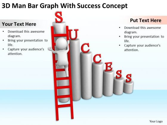 Young Business People 3d Man Bar Graph With Succes Concept PowerPoint Slides