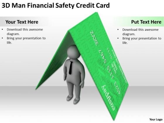 Young Business People 3d Man Financial Safety Credit Card PowerPoint Templates
