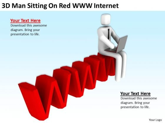 Young Business People 3d Man Sitting On Red Www Internet PowerPoint Templates