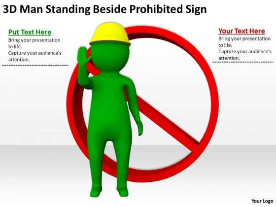 Young Business People 3d Man Standing Beside Prohibited Sign PowerPoint Templates