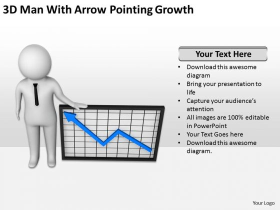Young Business People 3d Man With Arrow Pointing Growth PowerPoint Templates