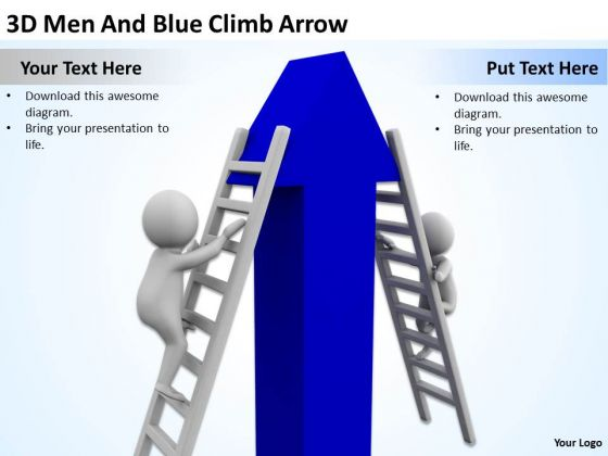 Young Business People 3d Men And Blue Climb Arrow PowerPoint Slides