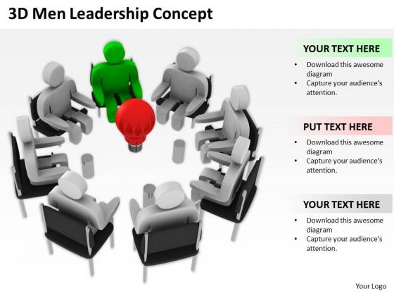 Young Business People 3d Men Leadership Concept PowerPoint Templates Ppt Backgrounds For Slides