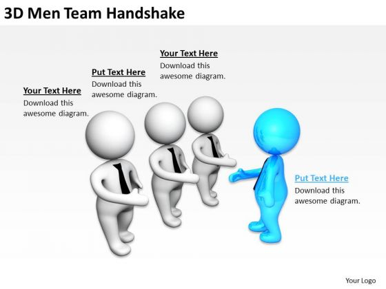 Young Business People 3d Men Team Handshake PowerPoint Templates Ppt Backgrounds For Slides