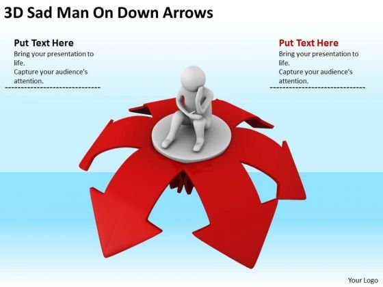 Young Business People 3d Sad Man On Down Arrows PowerPoint Templates