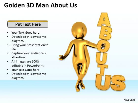 Young Business People Golden 3d Man About PowerPoint Templates