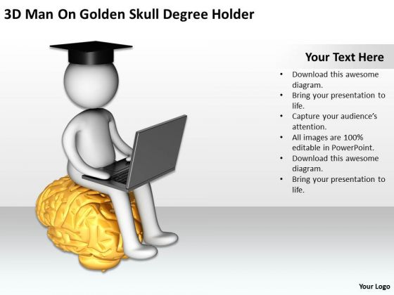 Young Business People On Golden Skull Degree Holder PowerPoint Templates Ppt Backgrounds For Slides