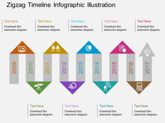 Zigzag Timeline Infographic Illustration Powerpoint Template