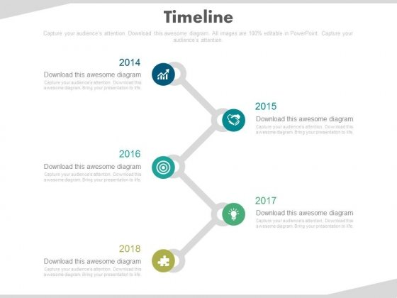 Zigzag Timeline With Business Icons Powerpoint Slides