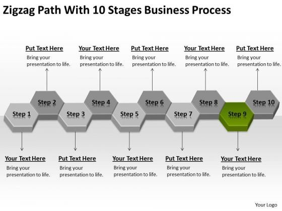 Zigzag Path With 10 Stages Business Process Plan Download PowerPoint Slides