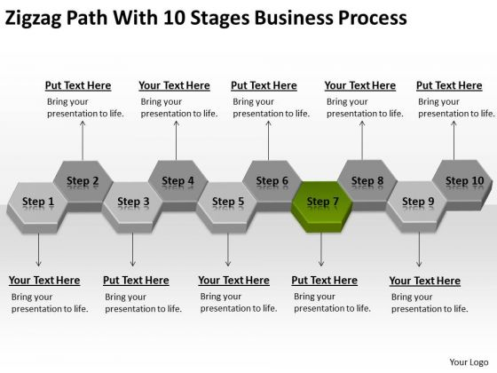 Zigzag Path With 10 Stages Business Process Ppt Plan PowerPoint Slides