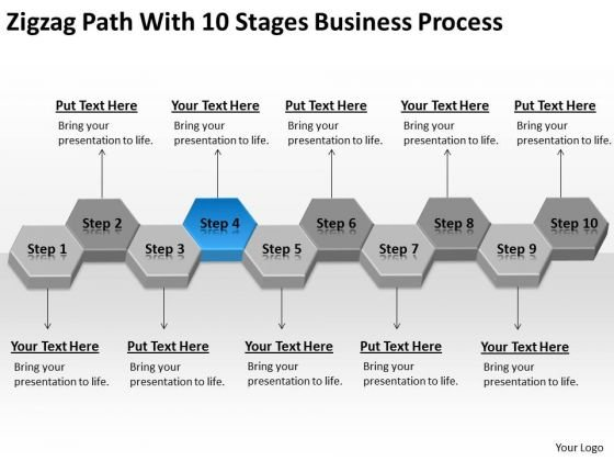 Zigzag Path With 10 Stages Business Process Ppt Sample Of Plan PowerPoint Slides