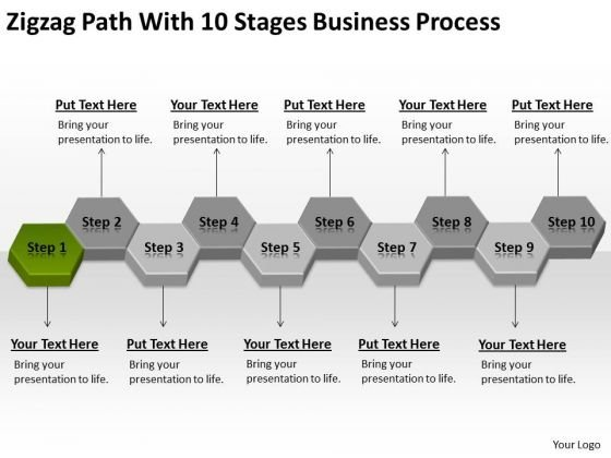 Zigzag Path With 10 Stages Business Process Ppt Strategic Plans PowerPoint Slides