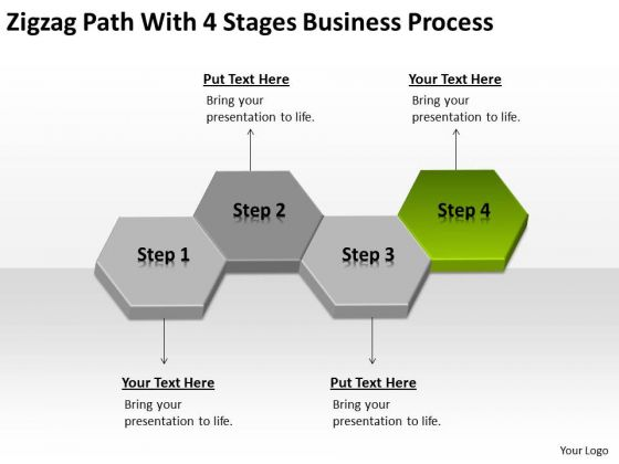 Zigzag Path With 4 Stages Business Process Ppt Plan Template PowerPoint Slides
