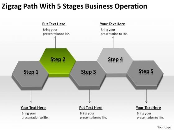 Zigzag Path With 5 Stages Business Operation Ppt Plan PowerPoint Slides