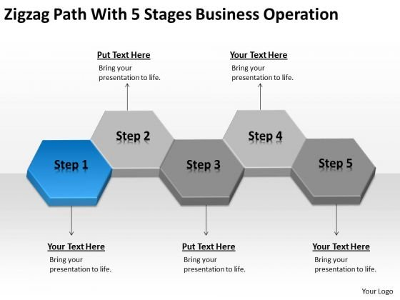 Zigzag Path With 5 Stages Business Operation Ppt Plan PowerPoint Templates