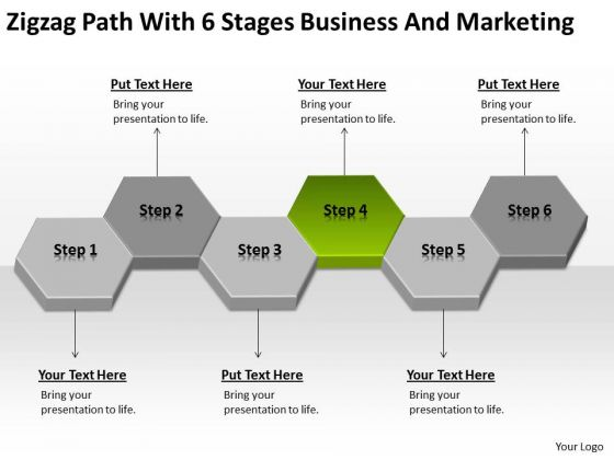 Zigzag Path With 6 Stages Business And Marketing Ppt Plan Examples PowerPoint Slides