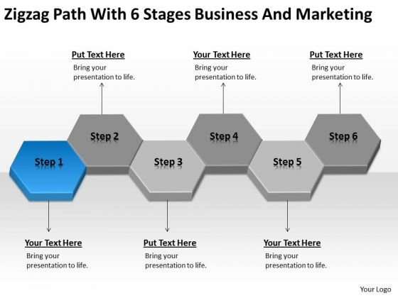 Zigzag Path With 6 Stages Business And Marketing Ppt Plans Software PowerPoint Slides