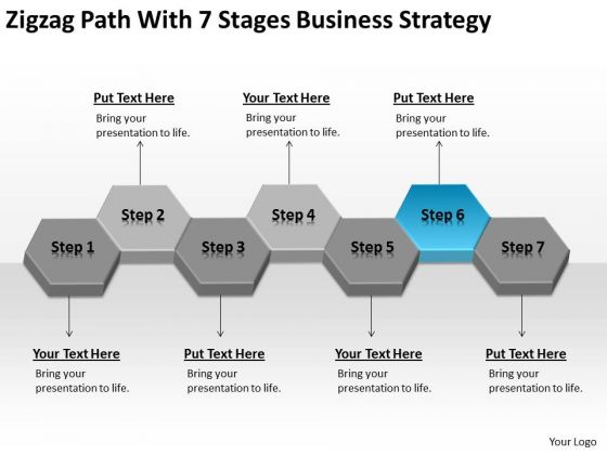 Zigzag Path With 7 Stages Business Strategy Examples Ppt Plan PowerPoint Templates