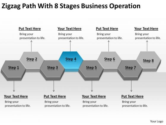 Zigzag Path With 8 Stages Business Operation Ppt Plan Definition PowerPoint Slides