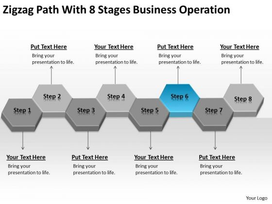 Zigzag Path With 8 Stages Business Operation Ppt Plan PowerPoint Slides