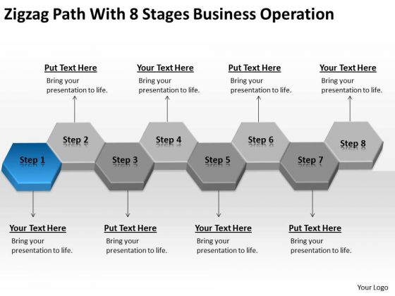 Zigzag Path With 8 Stages Business Operation Ppt Planning Tools PowerPoint Templates