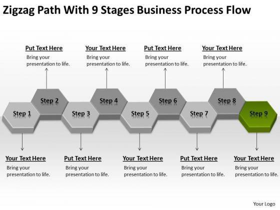 Zigzag Path With 9 Stages Business Process Flow Ppt Basic Plans PowerPoint Slides
