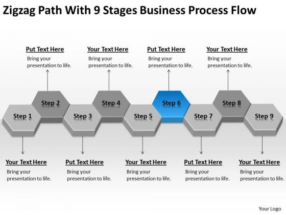 Zigzag Path With 9 Stages Business Process Flow Ppt Plan Maker PowerPoint Templates