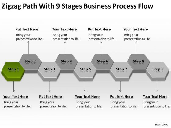 Zigzag Path With 9 Stages Business Process Flow Ppt Plan PowerPoint Templates