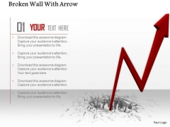 0814 Stock Photo Arrow Coming Out From Broken Surface PowerPoint Slide