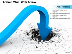 0814 Stock Photo Arrow Turning Towards Broken Wall PowerPoint Slide