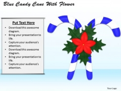 0814 Stock Photo Blue Candy Cane With Red Flower PowerPoint Slide