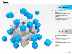0814 Stock Photo Blue Cubes Flying Out Of Box PowerPoint Slide