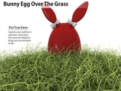 0814 Stock Photo Bunny Egg Over The Grass PowerPoint Slide