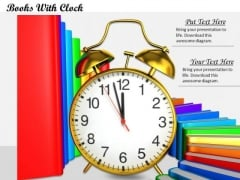 0814 Stock Photo Colorful Books Stack With Clock PowerPoint Slide