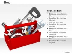 0814 Stock Photo Illustration Of Red Tool Box PowerPoint Slide