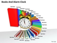 0814 Stock Photo Pile Of Books With Alarm Clock PowerPoint Slide