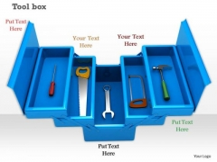 0814 Stock Photo Service Tools In Blue Box PowerPoint Slide