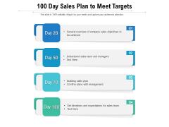 100 Day Sales Plan To Meet Targets Ppt PowerPoint Presentation Icon Slideshow PDF