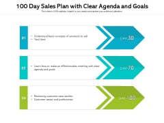 100 Day Sales Plan With Clear Agenda And Goals Ppt PowerPoint Presentation Outline Example Topics PDF