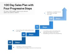 100 Day Sales Plan With Four Progressive Steps Ppt PowerPoint Presentation Infographic Template Professional PDF