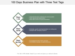 100 Days Business Plan With Three Text Tags Ppt PowerPoint Presentation Gallery Vector