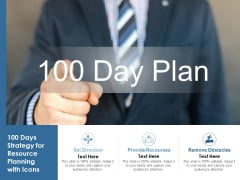 100 Days Strategy For Resource Planning With Icons Ppt PowerPoint Presentation Show Slide