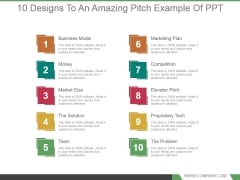 10 Designs To An Amazing Pitch Example Of Ppt