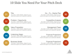 10 Slide You Need For Your Pitch Deck Ppt PowerPoint Presentation Examples