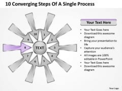 10 Converging Steps Of A Single Process Ppt Circular Chart PowerPoint Slides