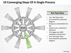 10 Converging Steps Of A Single Process Relative Circular Arrow Diagram PowerPoint Template