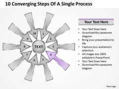 10 Converging Steps Of A Single Process Relative Circular Arrow Diagram PowerPoint Templates