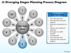 10 Diverging Stages Planning Process Diagram Circular Chart PowerPoint Templates